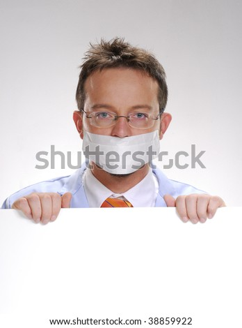 Scientist holding holding a white card. Doctor holding a white card.