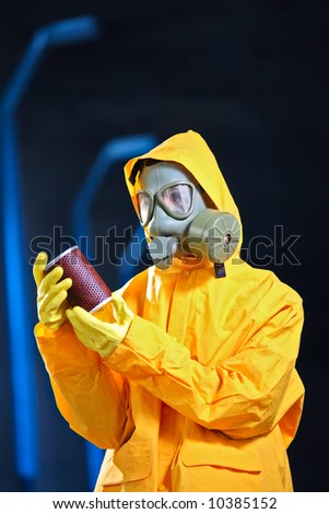 Scientist in a chemical plant - stock photo