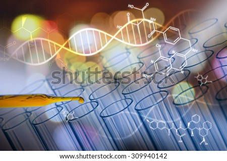 scientist laboratory test tube in future tone - stock photo
