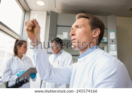 Scientist looking at test slide at the laboratory - stock photo