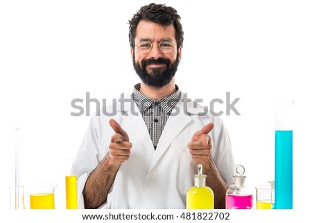 Scientist man with thumb up