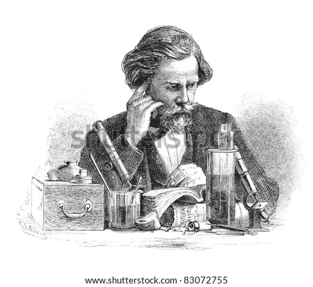 Scientist sitting at his desk. Engraving by unknown artist from Harper's Monthly Magazine, april 1876. - stock photo