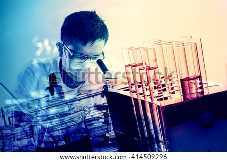 scientist with equipment and science experiments ,Laboratory glassware containing chemical liquid, science research