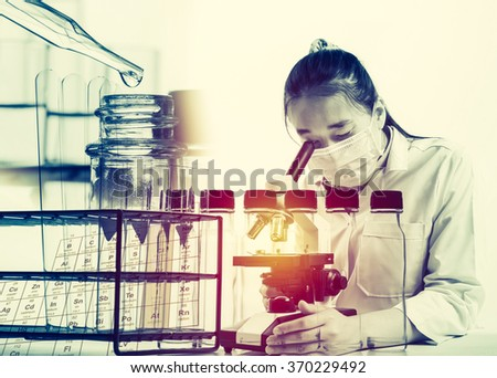 scientist with equipment and science experiments with lighting effect vintage style;science background