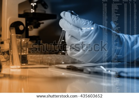 scientist with equipment,science research,science background,hand from scientist , close up research - stock photo