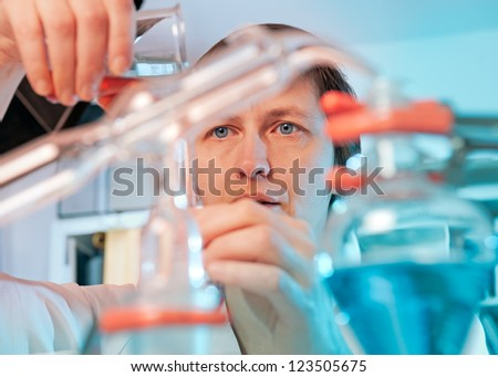 Scientist works in a chemical laboratory