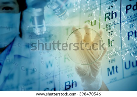 Scientists test results show there is a chemistry background and leave space for them to use. - stock photo