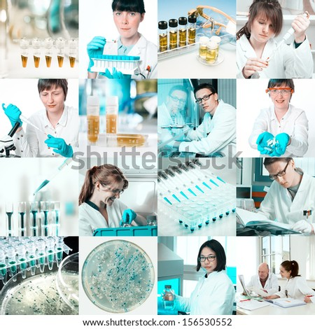 Scientists work in microbiological laboratory, collage - stock photo