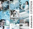 Scientists work in modern lab environment, collage - stock photo