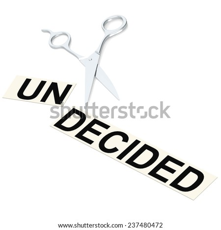 Scissor cut undecided image with hi-res rendered artwork that could be used for any graphic design. - stock photo