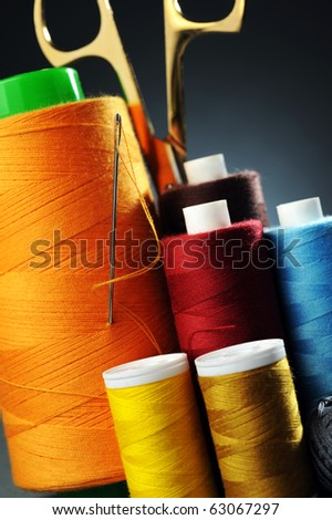 Scissor, stitching, needle in a close up view - stock photo