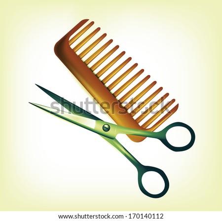 Scissors and wooden comb - stock photo