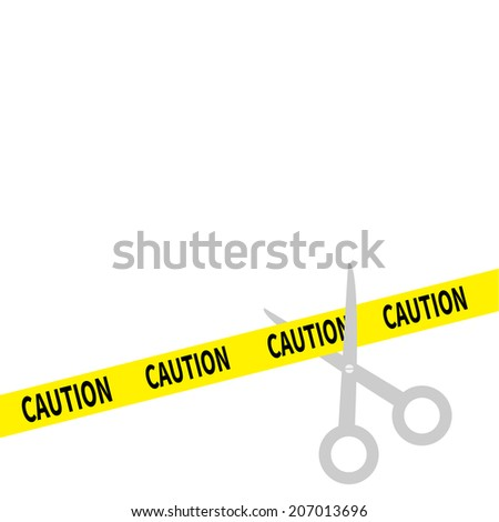 Scissors cut caution ribbon on the right. Isolated. Flat design style.  - stock photo