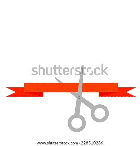 Scissors cut decorative red ribbon with dash line. Flat design style. - stock photo