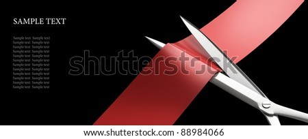 Scissors cut the red ribbon closeup isolated on black. High resolution. 3D image - stock photo