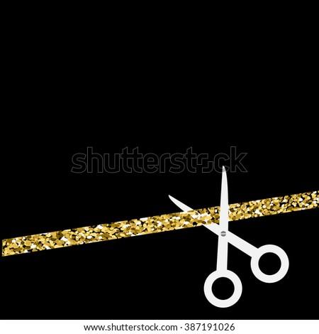 Scissors cut the straight ribbon. Flat design style. Gold sparkles glitter Black background  - stock photo