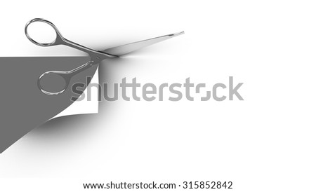 Scissors cutting a paper sheet in two parts. Gray background. 3d render. - stock photo