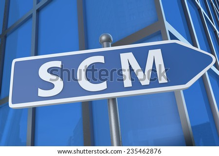 SCM - Supply Chain Management - illustration with street sign in front of office building.