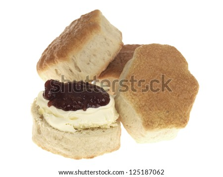 Scone with Jam and Clotted Cream - stock photo