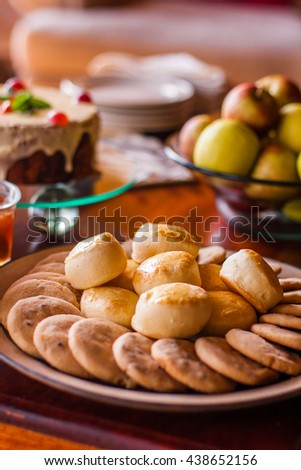 Scones at afternoon tea - stock photo
