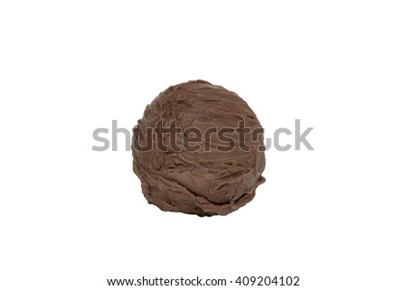 Scoop of chocolate ice cream from top on white background with clipping path