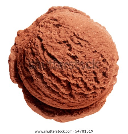 Scoop of chocolate ice cream from top on white background with clipping path - stock photo