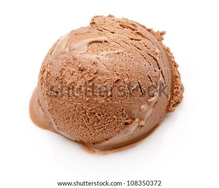 scoop of chocolate ice cream isolated on white - stock photo