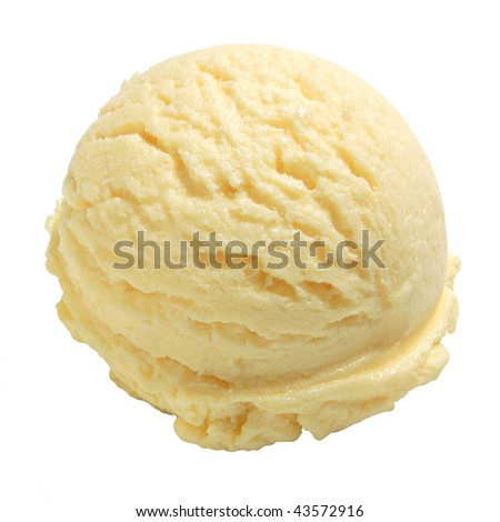 Scoop of ice cream with clipping path on white background  - stock photo