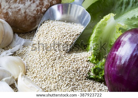 Scoop of quinoa surrounded by ingredients to make vegan Sloppy Joes. - stock photo