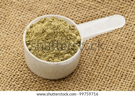 Scoop of raw organic hemp protein powder - super food rich in nutrients (proteins, antioxidants, amino and fatty acids) - stock photo