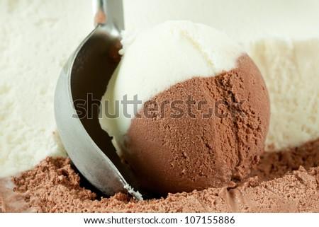Scoop of vanilla and chocolate ice cream. - stock photo