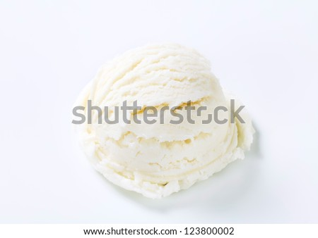 Scoop of white ice cream - lemon, vanilla or coconut flavor