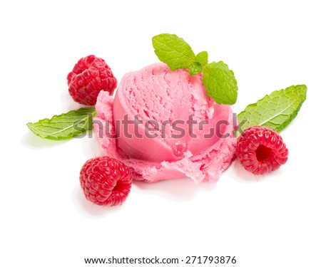 Scoop raspberry of ice cream with fresh berries decorated with mint isolated on white background - stock photo