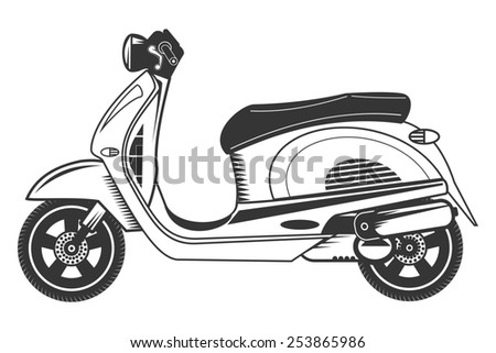 Scooter bike with helmet. Isolated sketch of retro scooter. - stock photo