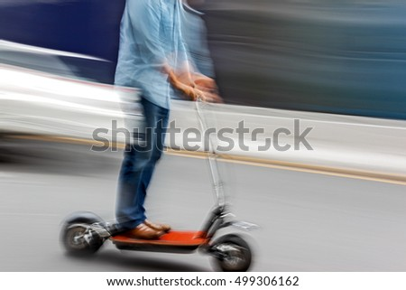 scooter in the city on a blurred background