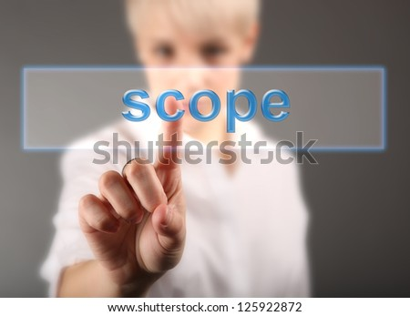 Scope business concept - woman and word