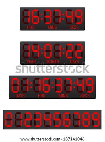 scoreboard digital countdown timer illustration isolated on white background - stock photo