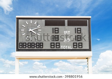 Scoreboard with the blue sky. - stock photo