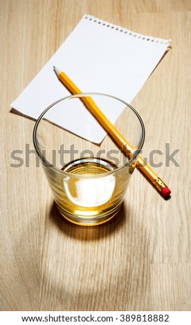 Scotch on wooden background with copyspace. Top view