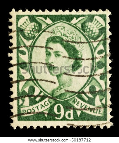 SCOTLAND - CIRCA 1958 to 1970: A Scottish Used Postage Stamp showing Portrait of Queen Elizabeth 2nd, circa 1958 to 1970