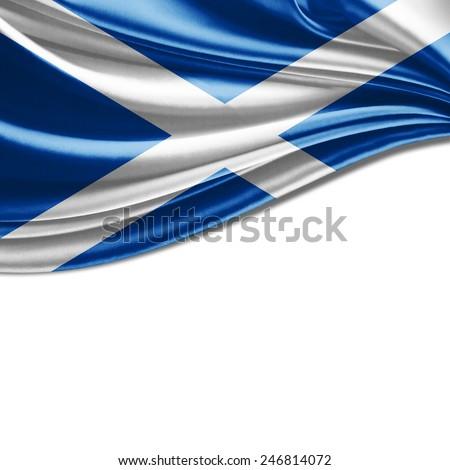 Scotland flag and white background - stock photo