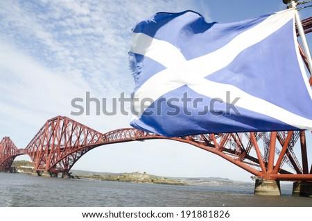 Scotland flag waving on the wind, Edinburgh, Scotland - stock photo