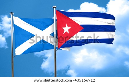 scotland flag with cuba flag, 3D rendering