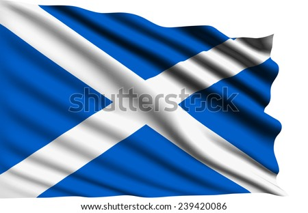 Scotland flag with fabric structure (clipping path)