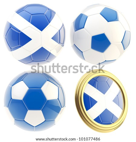 Scotland football team set of four soccer ball attributes isolated on white - stock photo