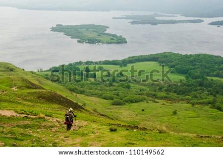 scotland Hiker loch lommond - stock photo