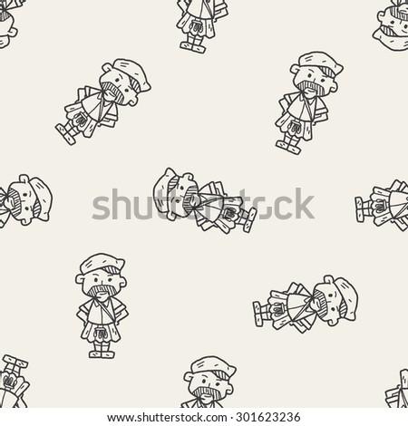 scotland man doodle seamless pattern background - stock photo