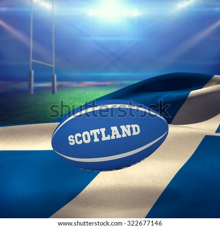 Scotland rugby ball against rugby stadium - stock photo