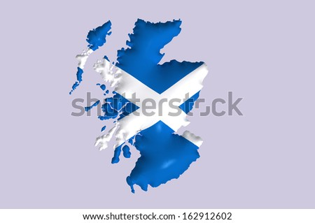 Scotland's flag super embossed on map - stock photo