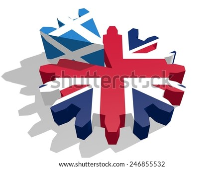 scotland vote for independence, politic relative background with national flag on gear cake - stock photo